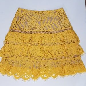 Lovers + Friends Yellow Lace Skirt